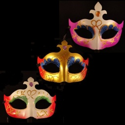 Painted Mardi Gras Mask With Glitter & Fleur-de-lis