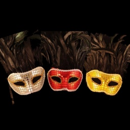 Mardi Gras Mask with Sequins & Feathers