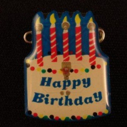 Birthday Cake Flashing LED Pin