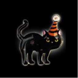Black Cat Hat Flashing LED Pin
