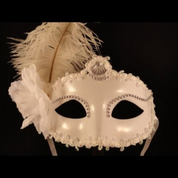 Elegant White Painted Mardi Gras Mask with Flower & Feathers