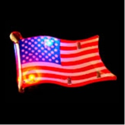 Flashing LED American Flag Pin