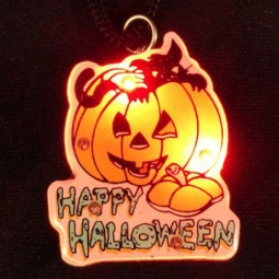 Happy Halloween Flashing LED Pin / Necklace