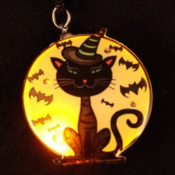 Moon Cat Flashing LED Pin / Necklace