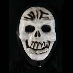Scary Plastic Skull Mask with Black Fabric Headcover