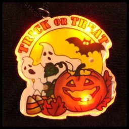 Trick or Treat Flashing LED Pin / Necklace