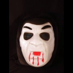 Scary Vampire Plastic Mask with Black Fabric Headcover