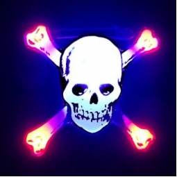 White Skull Flashing LED Pin
